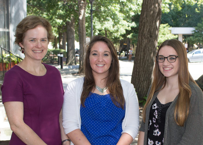 Pictured, from left, is Margaret Kowalsky, director of the King's Office of Study Abroad; and student ambassadors Elizabeth Novak and Megan McGowan.